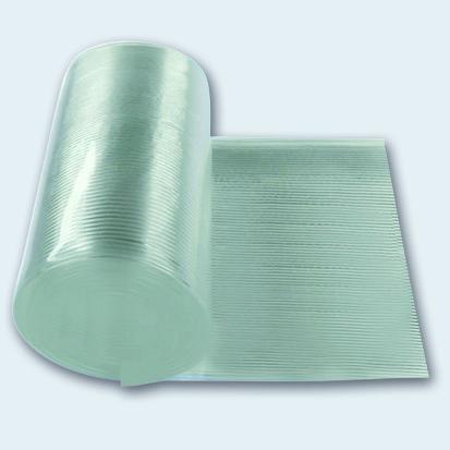 Flachband 140 mm PU 65 A transparent, Oberfläche gerippt