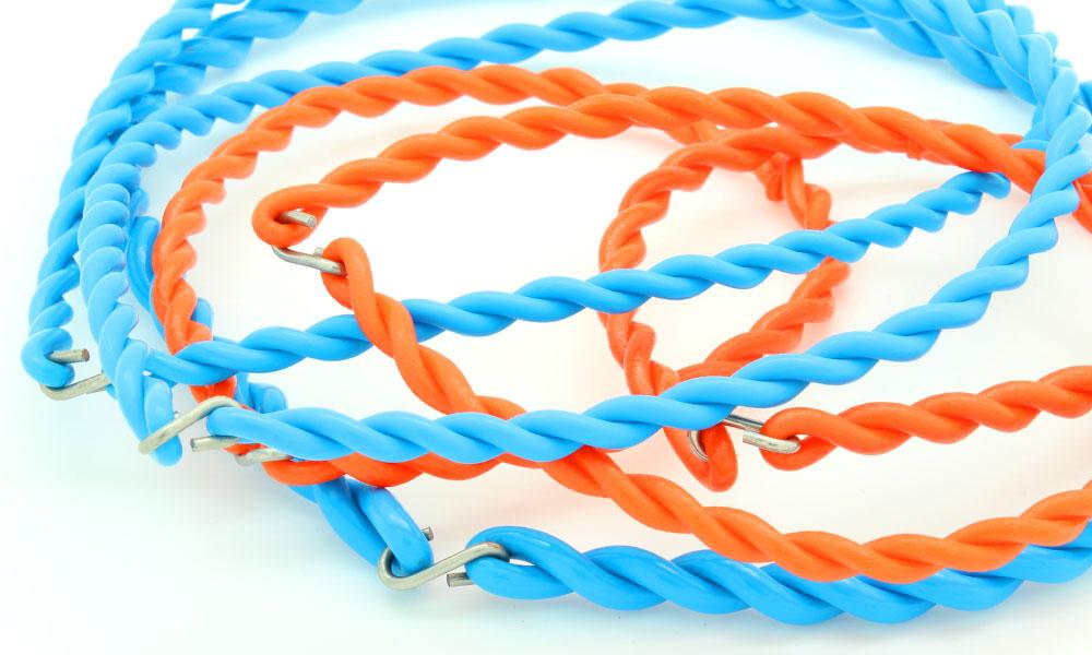 Hakenriemen himmelblau und orange