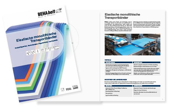 Broschüre über elastische monolithische Transportbänder